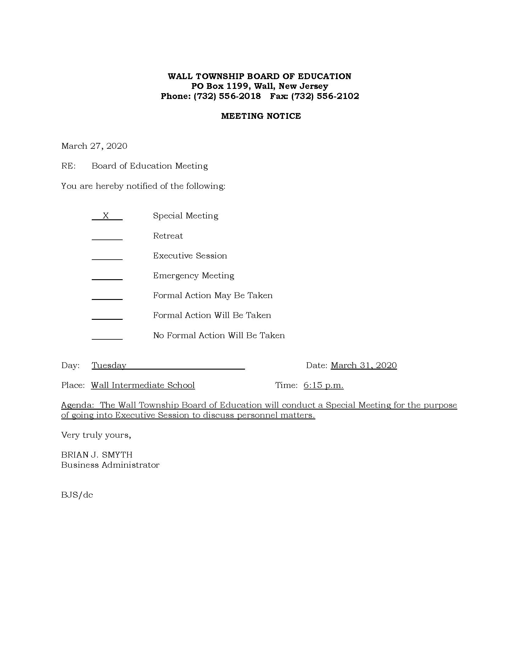 Wall Twp. BOE Meeting Notice 3.31.20_