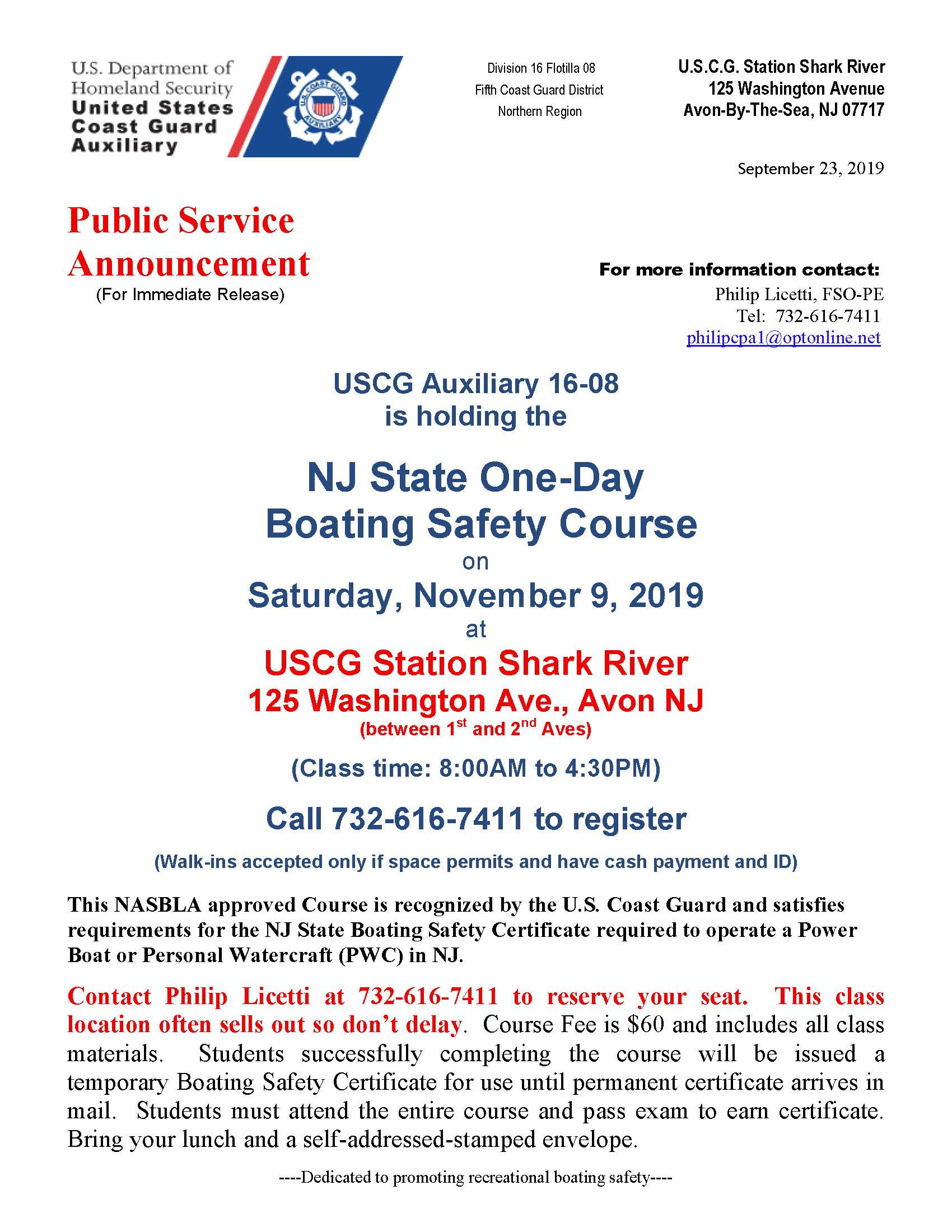 NJ Boating Safety Course 11.9.19